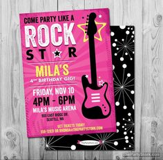 Rock Star Birthday Party Invitation | Printable Girls Party Invite | Black Pink Theme | See our shop for Kids Rockstar Decorations and Ideas by thepartystork on Etsy https://www.etsy.com/listing/188720914/rock-star-birthday-party-invitation