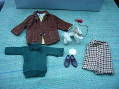 Vintage 1960s Pedigree Sindy Country Walk Outfit With Dog Ringo & Bowl - 12S08