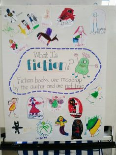 fiction anchor chart - the kids added their own fiction characters to it. Too Cool For School, School Fun, School Ideas, School Stuff, Kindergarten Literacy, Literacy Activities, Sight Words, Fiction Anchor Chart, Reading Anchor Charts