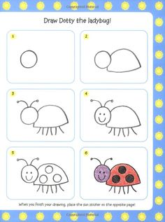 Lady bug drawing for kids Drawing Lessons For Kids, Art Drawings For Kids, Doodle Drawings, Easy Drawings, Animal Drawings, Doodle Art, Art Lessons, Art For Kids, Crafts For Kids