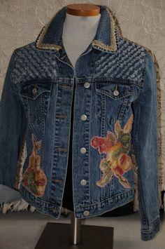 Upcycled denim jacket womens denim jacket size small by nanotchka