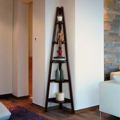 Casual Home 5 Shelf Ladder Bookcase Corner Bookshelves, Ladder Bookcase, Bookcases, Solid Wood Shelves, Open Shelves, Warm Home Decor, Corner Storage, Corner Unit, Corner Space