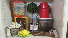 Atlantic City Beach Bucket, Vintage Ice bucket and thermos,and Metlox pottery flower.... https://www.facebook.com/pages/Country-Roads-Antiques-Gardens/217638435184?fref=ts