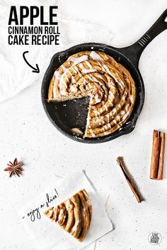 This oversized Apple Cinnamon Roll Cake is soft and fluffy, with a sweet and spicy taste. Made with apple cider and apple sauce, it's a perfect treat for fall. Recipe at livelaughrowe.com #AppleRecipe #CinnamonRoll