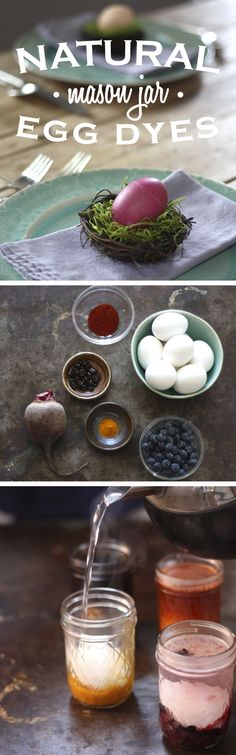 All you will need is hard boiled eggs, natural ingredients for the dye (vegetables, fruits and spices), distilled white vinegar, a tea kettle with boiling water and enough mason jars to pair with each individual dye ingredient. http://www.ehow.com/ehow-home/blog/diy-natural-easter-egg-dyes-in-mason-jars/?utm_source=pinterest.com&utm_medium=referral&utm_content=inline&utm_campaign=fanpage