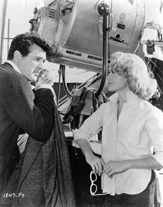 Rock Hudson and Dorothy Malone on the set of The Tarnished Angels, 1957.