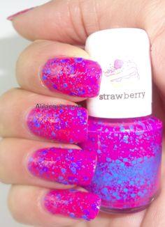 Blue Cross Nail polish scented polish- hot pink +blue glitter #nails #polish #glitter #scented