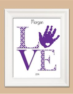 LOVE Flowers Handprint Art Personalized by CreationsbyTamiLynn, $20.00
