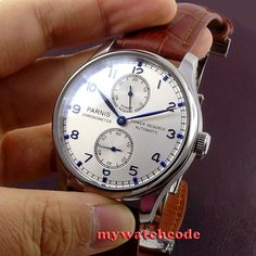 43mm parnis silver white dial power reserve ST2542 automatic movement mens watch P99B-in Mechanical Watches from Watches on Aliexpress.com | Alibaba Group