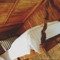 One of the upper bunkhouse bunk beds my husband built. Love the added ropes. Very rustic. Bunkhouse, Ropes, Bunk Beds, Ava, Sweet Home, Husband, Cabin, Rustic, Awesome