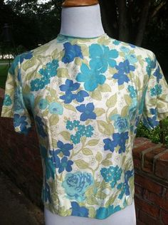 Back Button Blouse with Allover Flower Print circa 1950's
