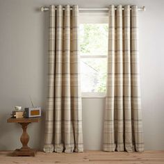 BuyJohn Lewis Darcey Check Lined Eyelet Curtains, Natural, W228 x Drop 182cm Online at johnlewis.com