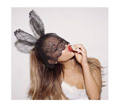 Black lace veil bunny ears headband, UK  Thank you to Ariana Grande for supporting handmade! Beautiful black lace bunny ears with a lace veil,