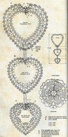 New Crochet Heart Doily Diagram Charts 65 Ideas Filet Crochet, Beau Crochet, Bonnet Crochet, Crochet Chart, Crochet Home, Thread Crochet, Crochet Gifts, Irish Crochet, Crochet Motif