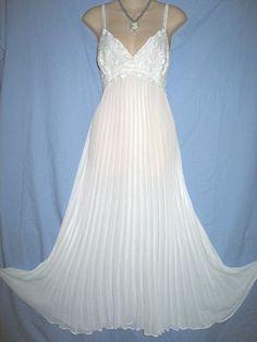 c4da1354550 Feminine white pleated nightgown.