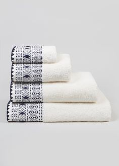 Embroidered Border Towels – Cream – Matalan