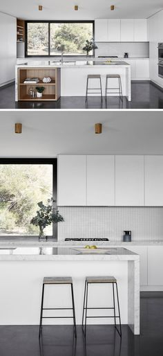 Kitchen Countertops Remodeling In this kitchen, minimalist white cabinets have been combined with touches of exposed wood shelving, which are both a strong contrast to the dark flooring and window frame - Kitchen Color Ideas -