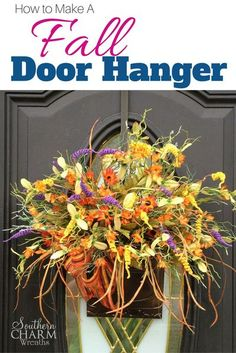 Learn how to make a beautiful fall door hanger using inexpensive materials. Grab your glue gun and check out the step by step instructions and video tutorial for this fun to make fall door hanger! Fall Door Hangers, Pumpkin Centerpieces, Cute Dorm Rooms, Living Room Green, Fall Wreaths, Burlap Wreaths, Thanksgiving Wreaths, Mesh Wreaths, Living Room Inspiration