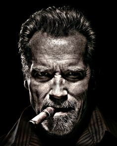 Arnold Schwarzenegger Portrait - Cinema print on canvas, print on wood, print on steel or print on paper Foto Portrait, Portrait Studio, Black And White People, Black And White Face, Celebrity Portraits, Famous Portraits, Male Magazine, Black And White Portraits, Hollywood Actor