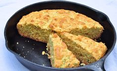 iron skillet with sweet zucchini corn bread