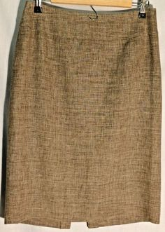 LAFAYETTE 148 NEW YORK Coffee-Cream Linen-Wool Straight Skirt - Size 8 #Lafayette148NewYork #Straight