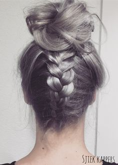 Love this silvergrey color. Silver grey silverblond updo braids
