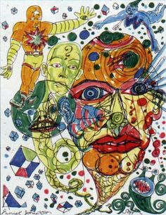 Tarssa Yazdani & Don Goede - 'The Life, Art & Music of Daniel Johnston' Pretty Art, Cute Art, Daniel Johnston, Indie Drawings, Outsider Art, Psychedelic Art, Surreal Art, Pictures To Draw, Looks Cool
