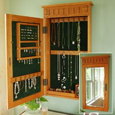 TOTALLY need this! jewelry cabinet hidden behind mirror!