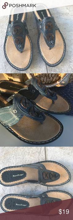 Bare Traps Navy Leather Sandals Navy blue leather sandals.Rubber sole.Accented with 2 wooden buttons on front .They are  a 9M,but I feel they run narrow.These are new without a box. BareTraps Shoes Sandals