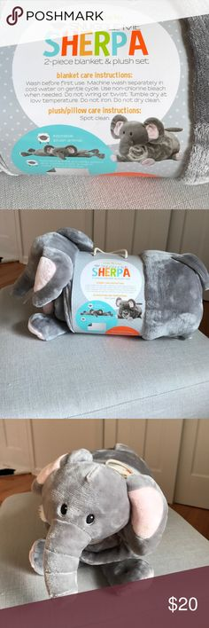 NWT Little miracles Sherpa two piece blanket set NWT Little miracles Sherpa two piece blanket set. Slightly visible spot on elephants left ear indicated in last photo. could probably be washed out but I have not opened it from its original packaging to try. Little Miracles Other