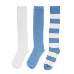 Light Blue + White 3-Pack Knee-High Socks #UCLA #UNC #Tarheels #Panthers #Carolina #NFL #NBA #Detroit #Lions #LA