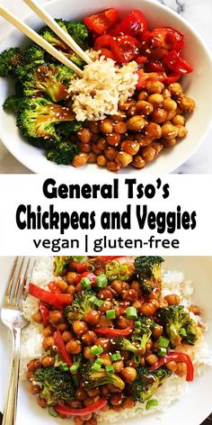 General Tso's Chickpeas and Veggies this is much healthier and delicious take on the classic deep fried dish, also it is plant-based and gluten-free! Sautéed veggies, chickpeas or even chicken stir… Tasty Vegetarian Recipes, Vegetarian Dinners, Vegan Dinner Recipes, Healthy Recipes, Veggie Recipes, Asian Recipes, Whole Food Recipes, Diet Recipes, Cooking Recipes