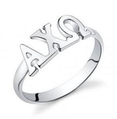 Alpha Chi Omega Sterling Silver Letter Ring
