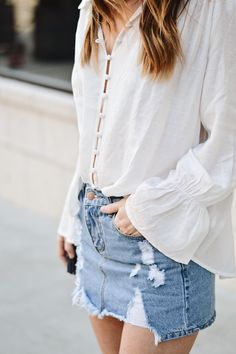 Denim Mini Skirt and White Button Up - Spring outfit inspiration | ginghamandglam.com @ginghamandglam