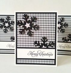 Handmade Christmas Cards (Set of 5) - Black and White Glitter Snowflakes. $15.00, via Etsy.