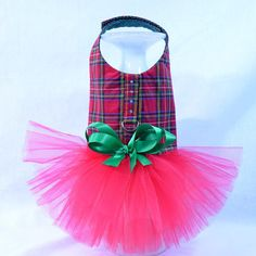 Red Plaid Christmas Tutu Harness Dog Dress by KOCouture on Etsy.  As seen on the TODAY show! See more at www.etsy.com/shop/kocouture  pet clothing, pet apparel, puppy, yorkie, chihuahua, small dog clothes, custom dog dress, pet photography