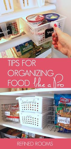 Learn to organize your food like a professional organizer with these food storage organization tips and product recommendations | #foodstorage #kitchenorganizing #kitchenorganization #foodorganization #foodorganizationtips #refrigeratororganizing #pantryorganizing #organizeandrefinechallenge #refinedrooms