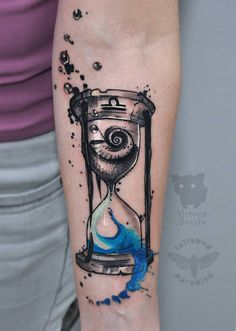 Sandglass by ArmstrongCannon on DeviantArt Forearm Tattoos, Arm Band Tattoo, Body Art Tattoos, New Tattoos, Tattoos For Guys, Couples Tattoo Designs, Tattoo Sleeve Designs, Sleeve Tattoos, Hourglass Tattoo