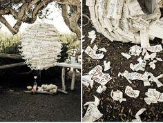 DIY Love Notes Pinata--also a good idea for a fun anniversary gift. Wedding Pinata, Origami, Spanish Wedding, Bouquet Toss, Diy Wedding Projects, Diy Projects, Love Notes, Sweet Notes, Here Comes The Bride