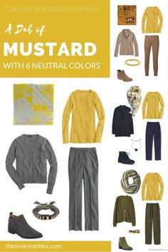 Capsule Wardrobe Color Palette - A Dab of Mustard, with 6 Neutral Colors - The Vivienne Files Capsule wardrobe colour palette inspiration - a dab of mustard yellow with 6 neutral colors Capsule Wardrobe, Capsule Outfits, Fashion Capsule, Fall Outfits, Cute Outfits, Look Fashion, Autumn Fashion, Womens Fashion, Mustard Yellow Outfit