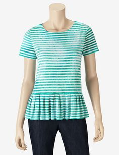Chaus Sport Stripe Peplum Top. Buy with We-Care.com to give a percentage to AdoptAClassroom.org!