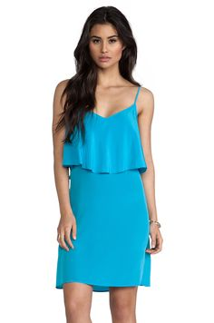 LA Made Silk Ruffle Tank Dress in Turquoise from REVOLVEclothing