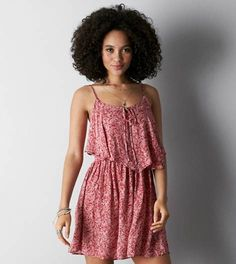 Red AEO Printed Flounce Front Sundress; Love the dress but pinning for the hair. #Hairgoals