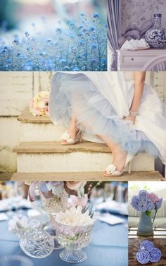 periwinkle inspiration, the small crystal vases would be perfect as bud vases and votives!  kw wedding