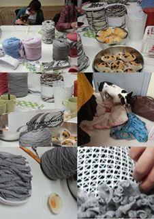 lovely people :) Hecho con amor y con nuestros materiales, enviada por Laura  #handmade #crochet #sacocharte #trapillo #nidodeabeja