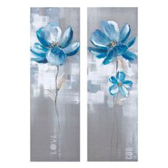 """Canvas art - Turquoise flower 12"""" x 36"""" SOLD OUT www.lambertpaint.com"""
