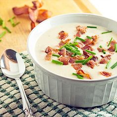 Creamy baked potato soup overloaded with bacon.