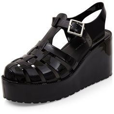 Black Gladiator Jelly Wedges ($12) ❤ liked on Polyvore featuring shoes, sandals, wedge heel sandals, medium wedge sandals, mid heel wedge sandals, black wedge shoes and wedge sandals