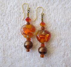 Orange and Gold Patchwork Heart Earrings by AGreenWoods on Etsy