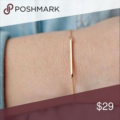 Minimalist Gold Bar Bracelet Minimalist Single Bar Gold Bracelet by WILA   Minimalism is in this season! This simple gold bracelet can be worn alone or stacked for many different looks.   • 14k gold plated alloy metals • adjustable WILA Jewelry Bracelets